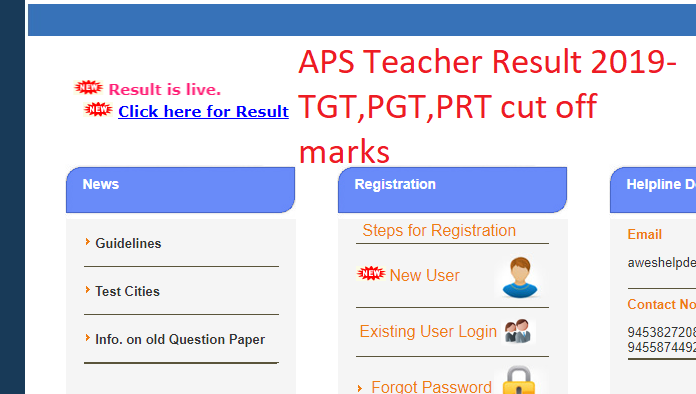 APS TGT, PGT, PRT Teacher result 2019