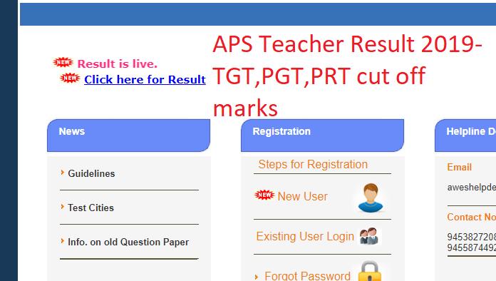APS TGT, PGT, PRT Teacher result 2019