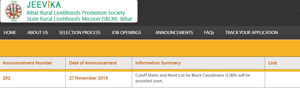BRLPS Block Coordinator (LSBA) Merit List 2019 Check Result Cut off Marks