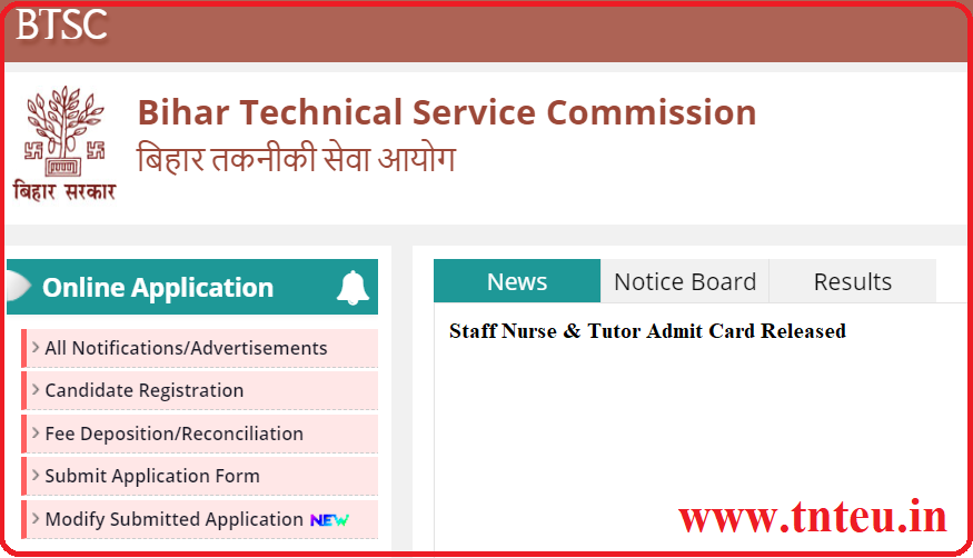 Bihar BSTC Staff Nurse Admit Card 2019 Tutor Exam date