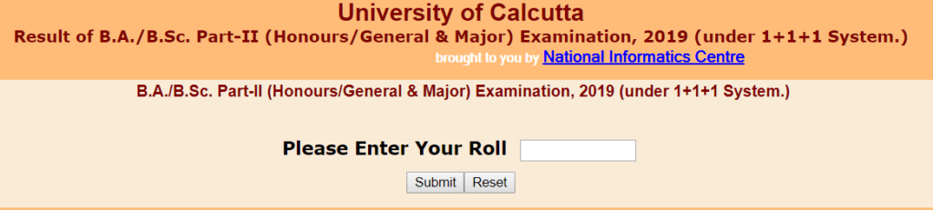 CU B.A./B.Sc. Part-II (Honours/General & Major) Examination Results, 2019 (under 1+1+1 System.)