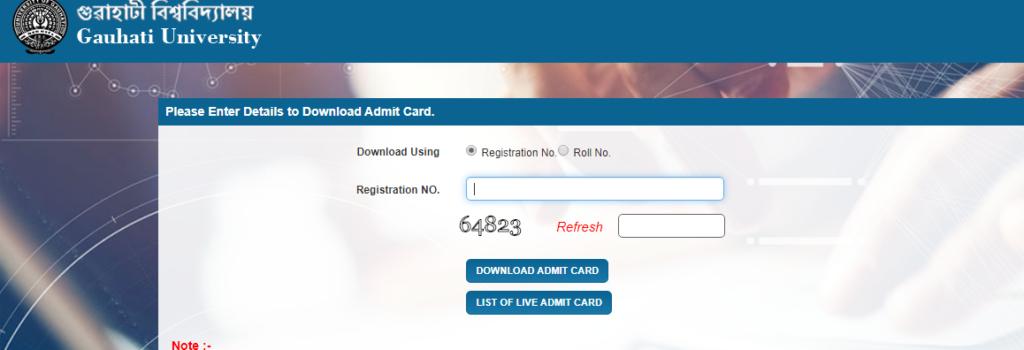 Gauhati University BA, B.COM, B.SC 1st/3rd/5th Sem Admit card 2019
