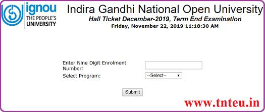 IGNOU TEE Hall Ticket 2019 Dec Exam