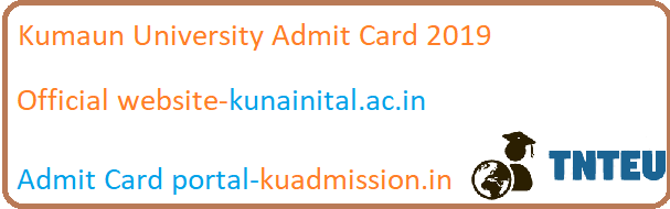 Kumaun University BA B.Com B.Sc 1st/3rd/5th sem Admit card 2019