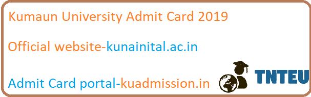 Kumaun University BA B.Com B.Sc 1st/3rd/5th sem Admit card 2019