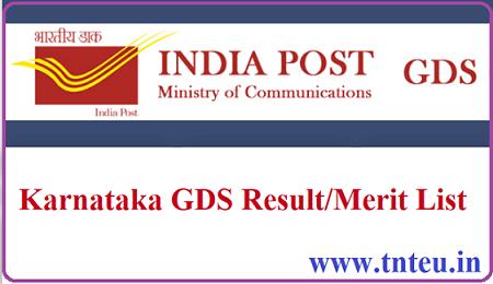 Karnataka GDS Result 2019 GDS Merit List Pdf