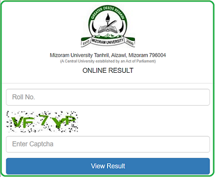 Mizoram University Results
