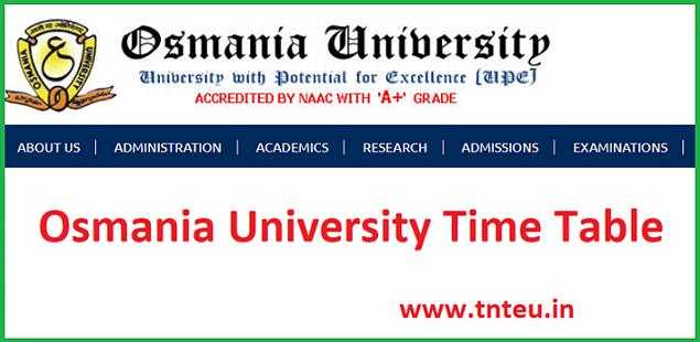 Osmania University Time Table 2019
