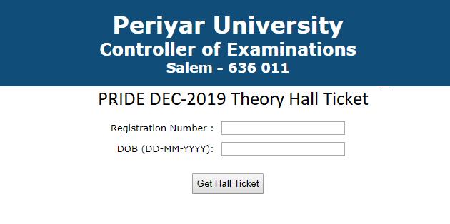 Periyar University hall Ticket 2019
