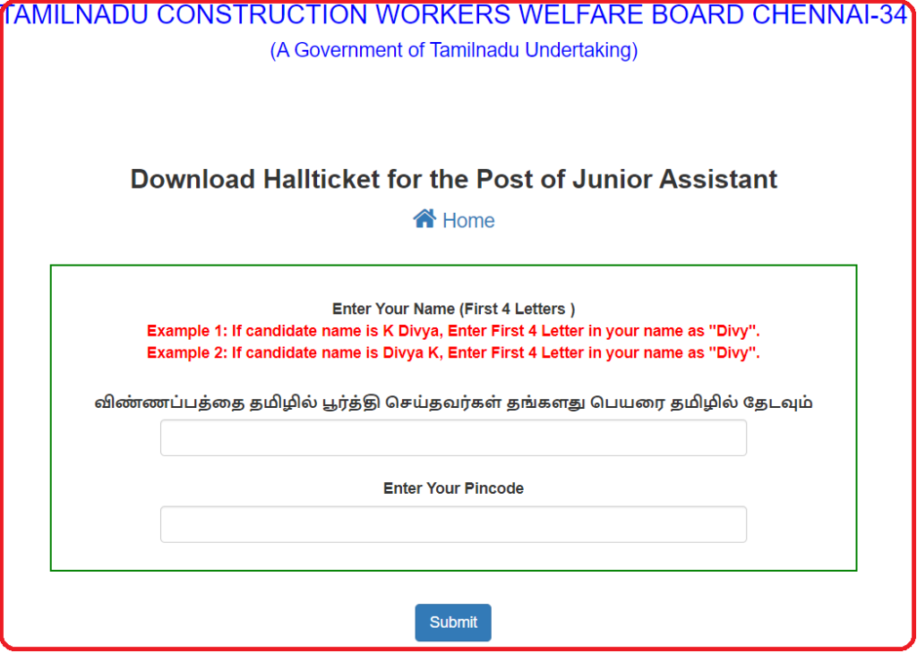 TN Labour Junior Assistant Hall Ticket 2019