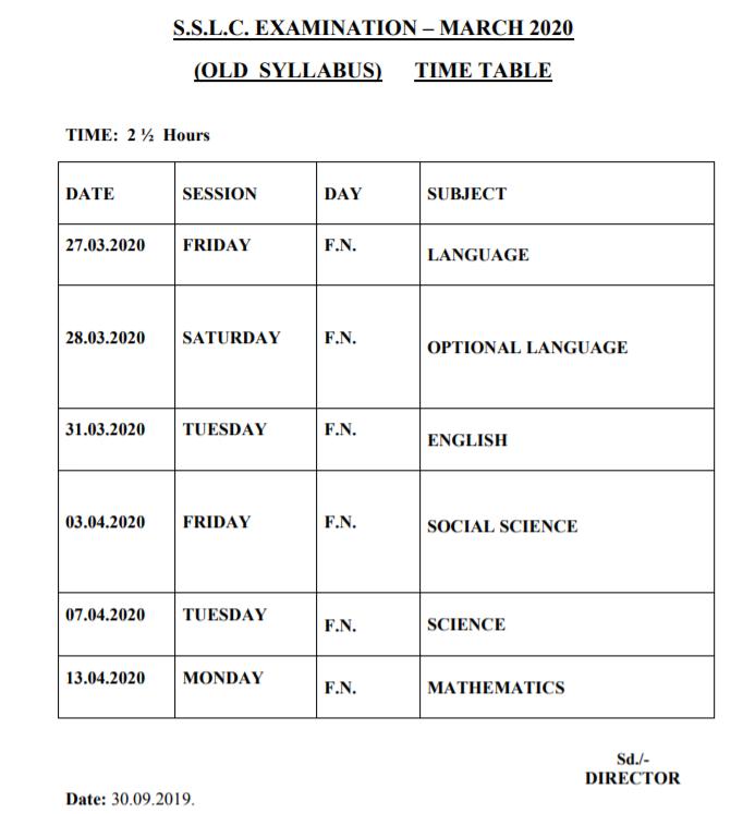 TN SSLC Time Table March 2020 Pdf