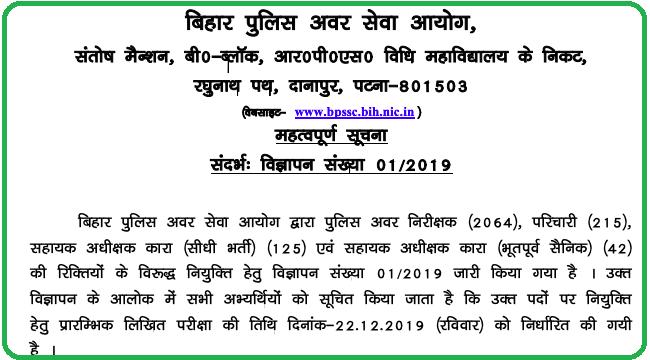 Bihar Police SI Exam Date