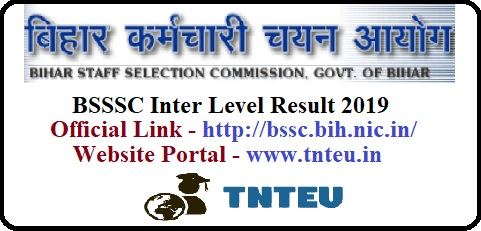 BSSC Result 2019 Inter Level Exam (bssc.bin.nic.in)