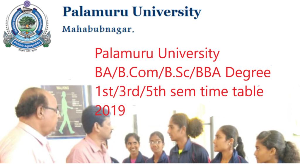 PU Degree BA, B.Com, B.Sc, BBA 1st/3rd/5th sem degree Nov exam time table 2019