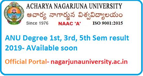 ANU degree 1st, 3rd, 5th sem result 2019