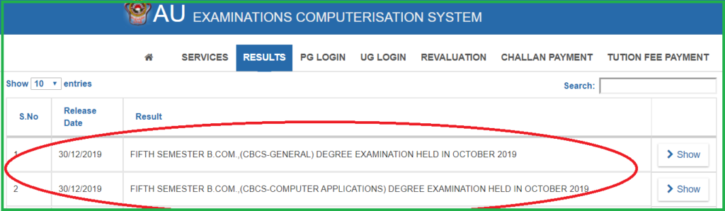 AU Degree B.Com 5th Sem Result 2019