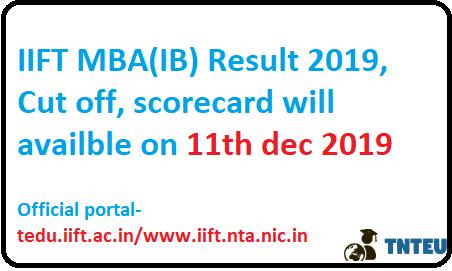IIFT MBA(IB) Result 2019
