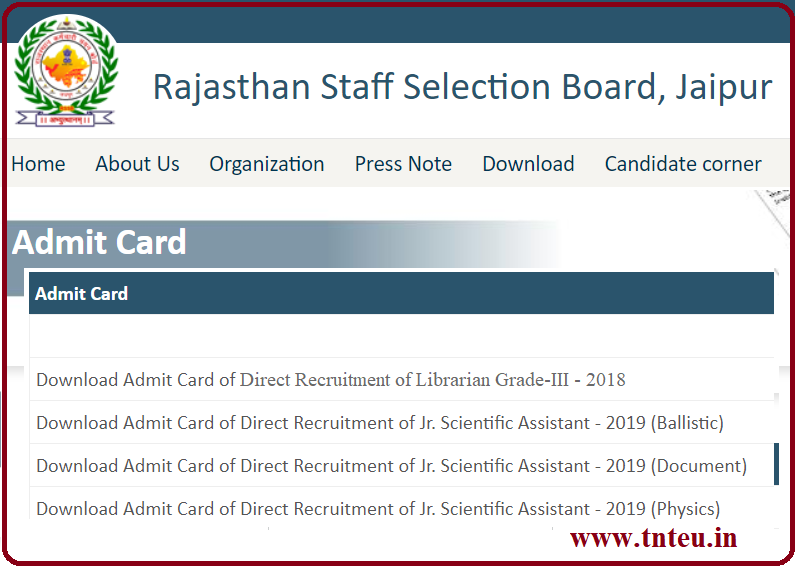 RSMSSB Librarian Admit Card 2019- Rajasthan Pustkalyaadhysh Exam Date, Call Letter