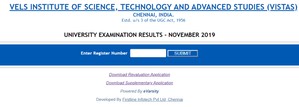 VELS University Examination Results -November 2019