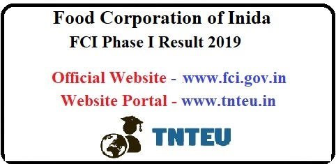 FCI Manager Phase I Result 2019-20