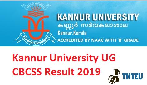Kannur University UG Results 2019 UG BA B.Com B.Sc CBCSS(Nov) 1st 3rd 5th Sem Result 2019