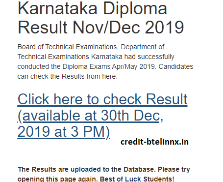 DTE Karnataka Diploma Result Nov-Dec 2019