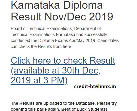DTE Karnataka Diploma Result Nov-Dec 2019