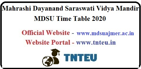 MDSU BA B.Sc B.Com MA M.Sc M.Com I II III Year Time Table 2020