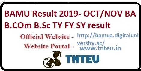 BAMU result 2019 for BA, B.Com, B.Sc TY, SY, FY result 2019