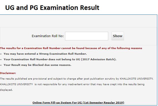 Khallikote University UG result 2019-2020 BA, B.Com, B.Sc 1st, 3rd, 5th Sem(odd semester) result