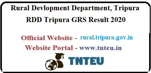RDD Tripura GRS Result 2020