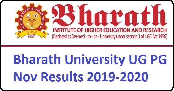 Bharath University results Nov 2019 BIHER UG, PG, Engg.(Nov/Dec) Results 2019