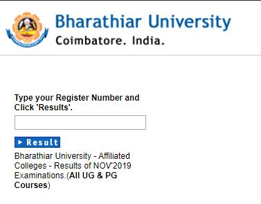 Bharathiar University UG & PG result 2019 november