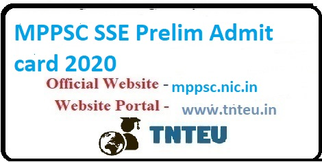 MPPSC SSE prelim Admit card 2020