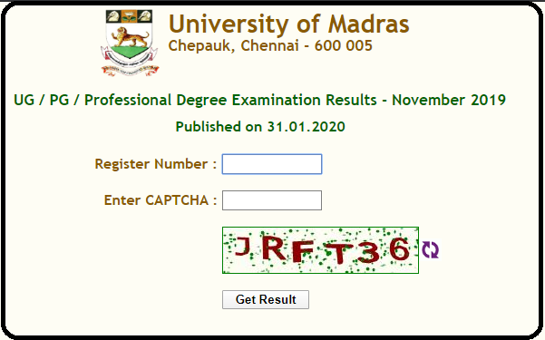 Madras University UG Results Nov 2019-2020