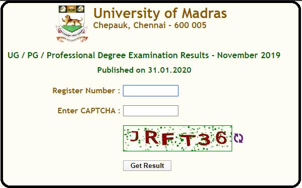 Madras University UG Results Nov 2019-2020