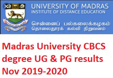 Madras University UG Results Nov 2019-2020 UNOM BA B.Com B.Sc BCA MA M.Com M.Sc Nov  CBCS degree results 2019
