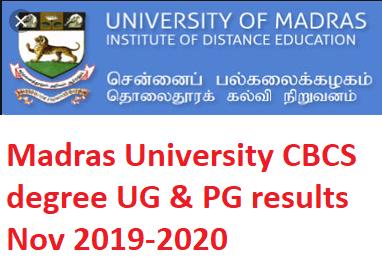 Madras University UG Results Nov 2019-2020 UNOM BA B.Com B.Sc BCA MA M.Com M.Sc Nov  CBCS degree results 2019