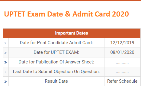 UPTET Admit card (प्रवेश पत्र) 2019-2020 sarkari result