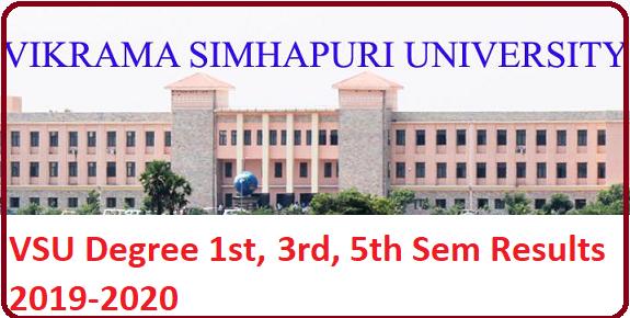 VSU UG Degree 1st, 3rd, 5th Sem result 2020(Nov) UG CBCS results manabadi