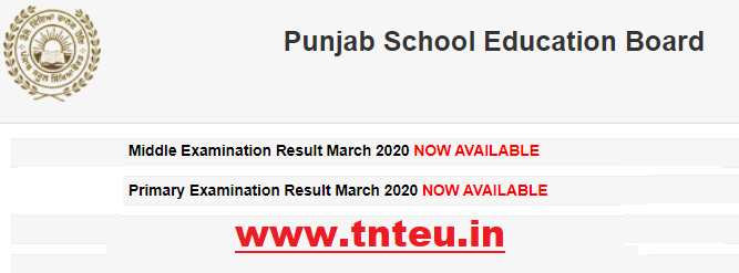PSEB Class 5th & 8th Result 2020