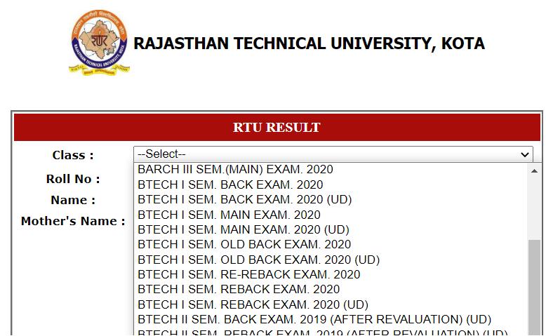 RTU Results esuvidha.info