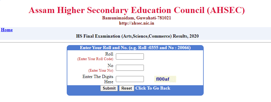 resultsassam.nic.in HS 2nd year result 2020 AHSEC HS (12th) Result 2020  Name wise(declared) - TNTEU News