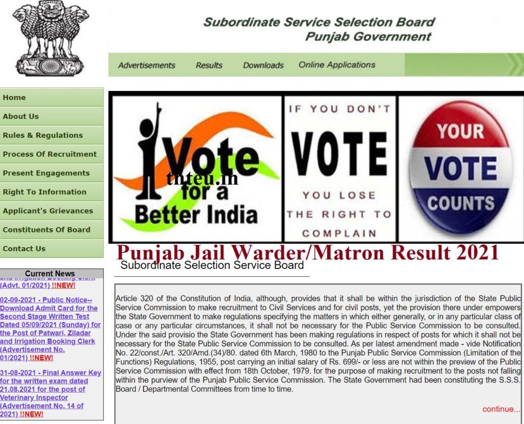 Punjab Jail Warder Result 2021