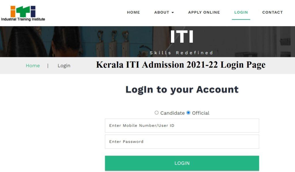 Kerala ITI Admission 2021-22 Login Page