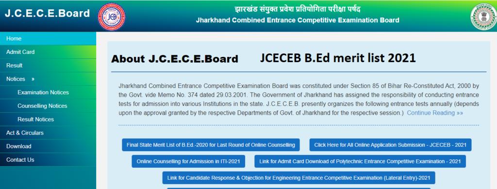 JCECEB B.Ed Merit list 2021 pdf